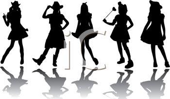 Cowgirl Silhouette Clip Art--12