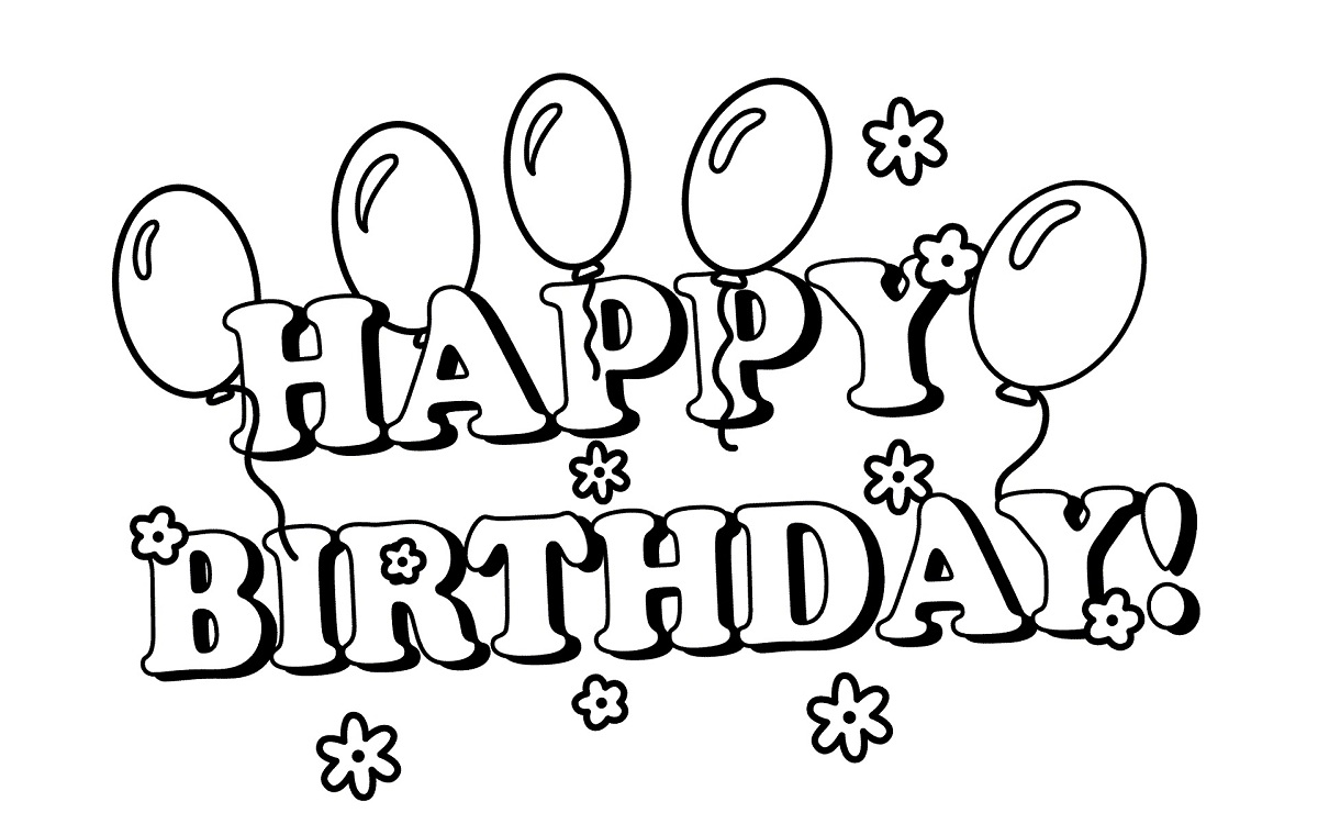 Happy Birthday Clip Art Black And White