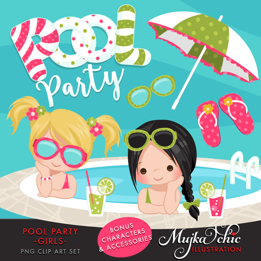 Pool Party Clipart--17