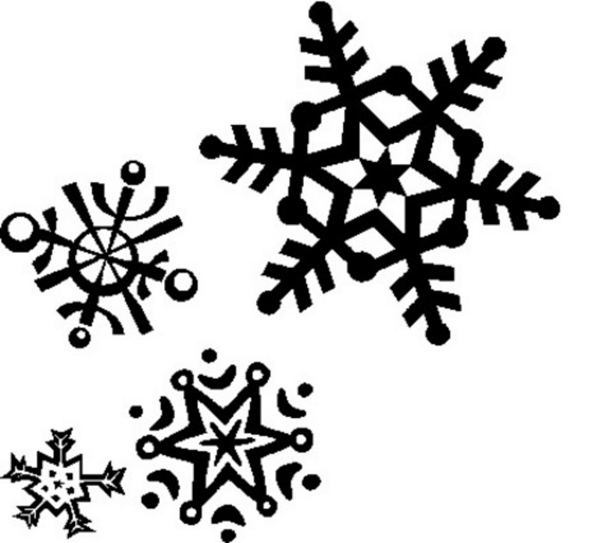 Snow Flakes Clipart--3