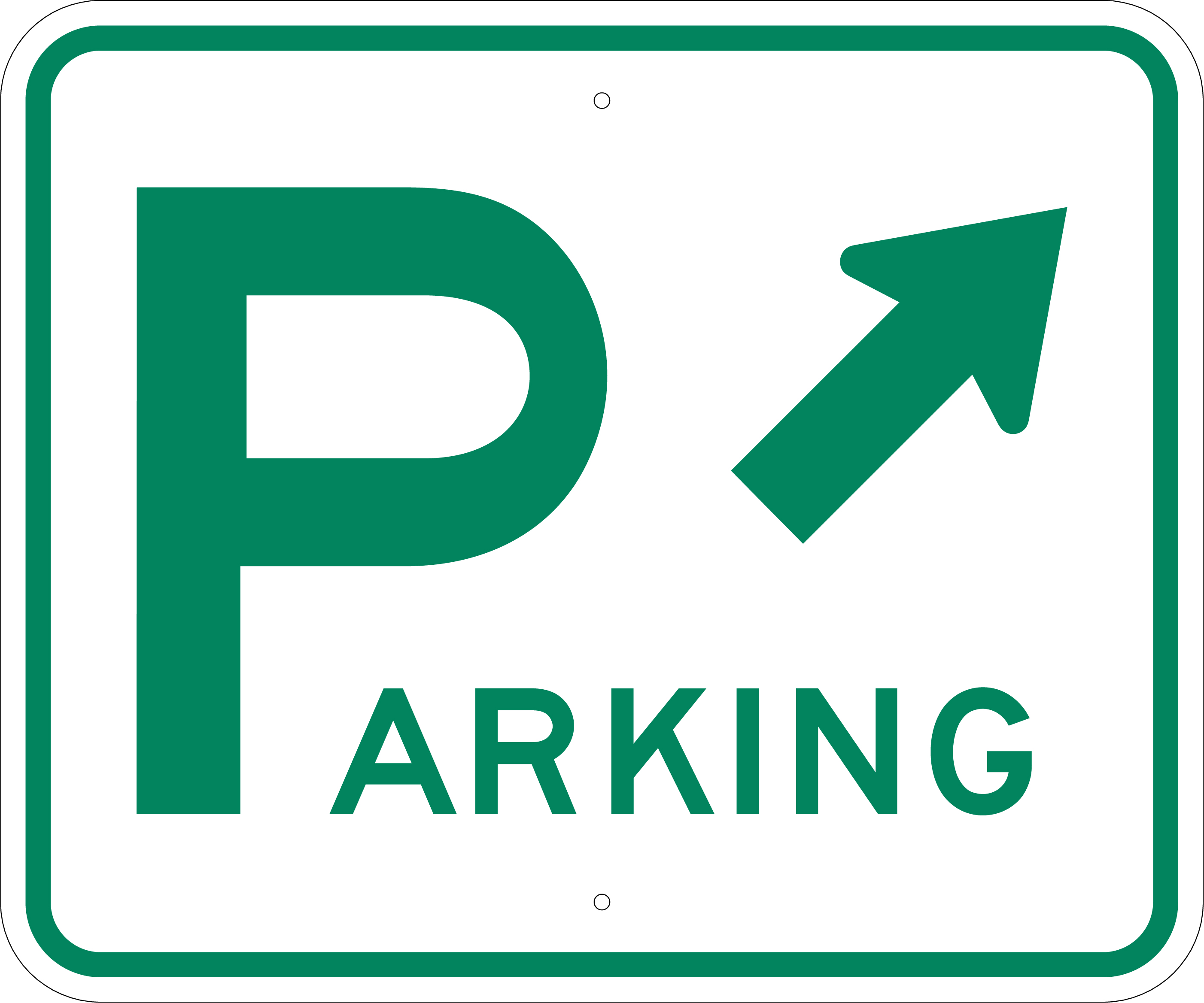 080 Aluminum Parking Sign W Arrow Informational Stock Sign