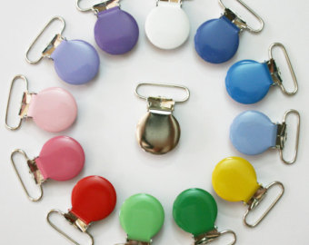 10 Round 1 Inch Enamel Suspender Passy Binky Pacifier Mitten Clips Choose Your Colors