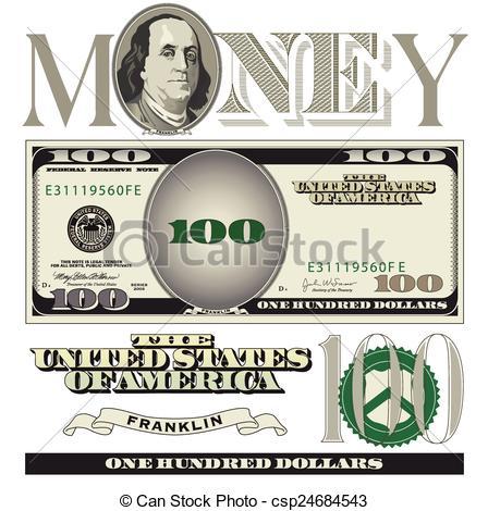 ... 100 dollar bill elements - Miscellaneous 100 dollar bill.