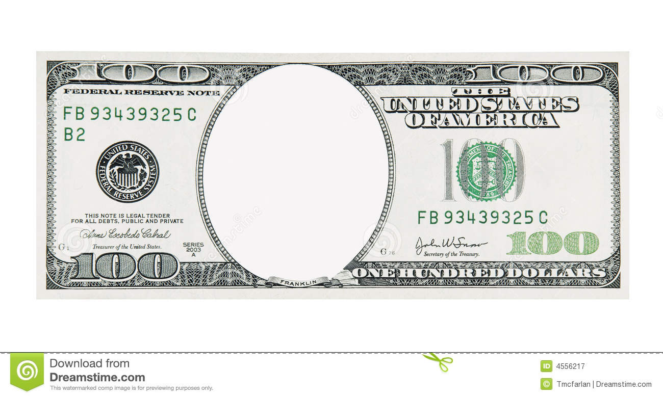 100 Dollar Bill Front No Face Royalty Free Stock Photography Image