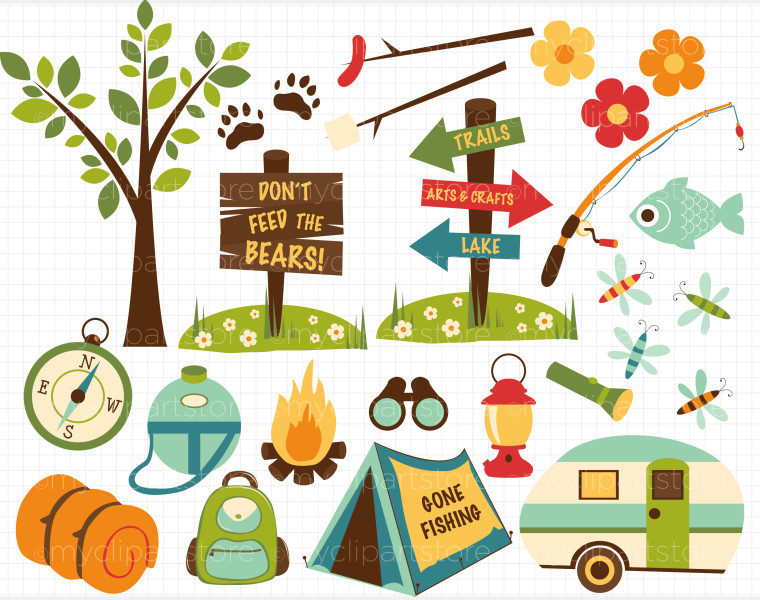 Camping woodland. Clip art clipartlook