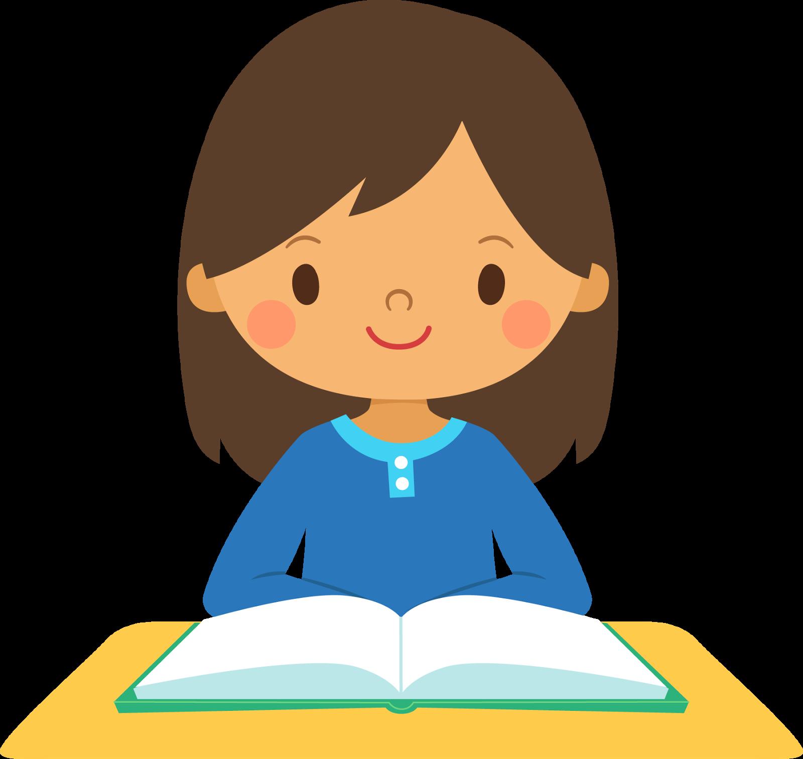 Girl Reading Clipart