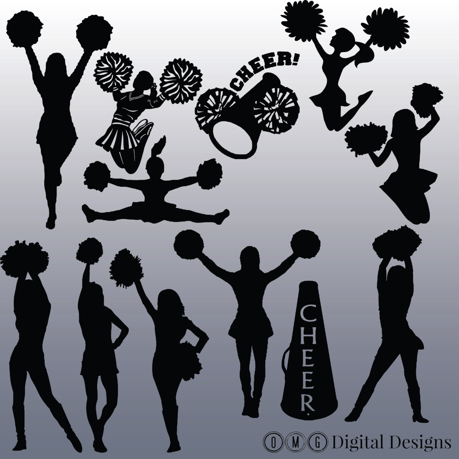 12 Cheerleader Silhouette Digital Clipart Images, Clipart Design Elements, Instant Download, Black Silhouette Clip art