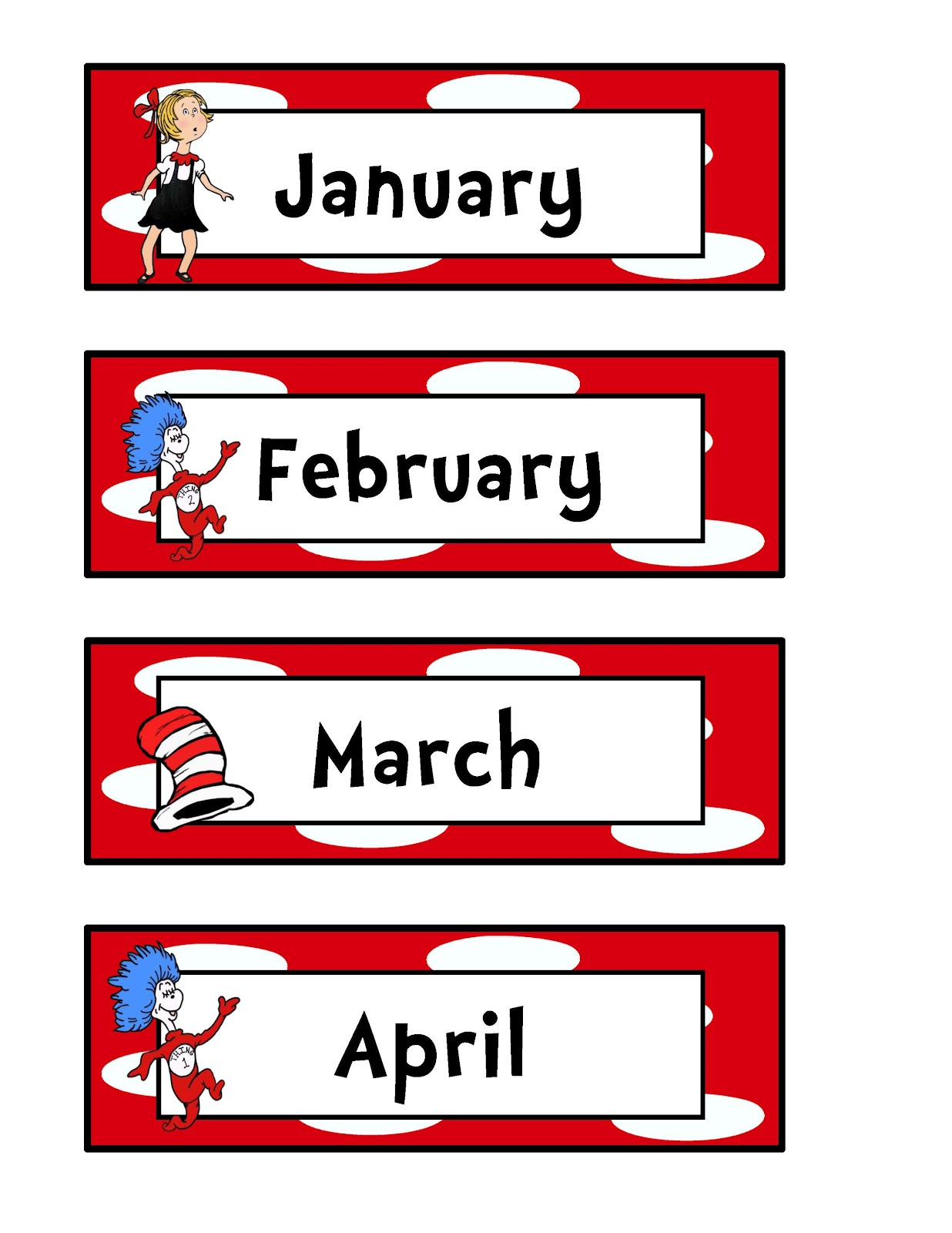 12 Month Calendar No Year . - Months Of The Year Clipart