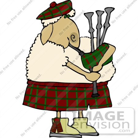 #12479 Sheep Playing Bagpipes Clipart by DJArt