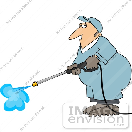 #14456 Middle Aged Caucasian Man Pressure Washing Clipart