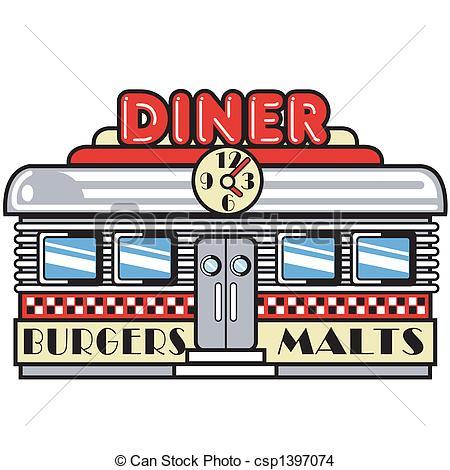 1950s Fifties Diner Clip Art - 1950s fifties style diner,.