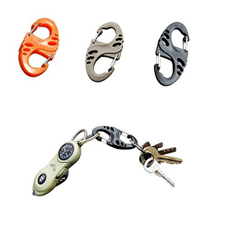 1Pcs mini S-Biner plastic bacpack carabiner buckle clip hook hang camp hike mountain climb outdoor survive keychain keyring