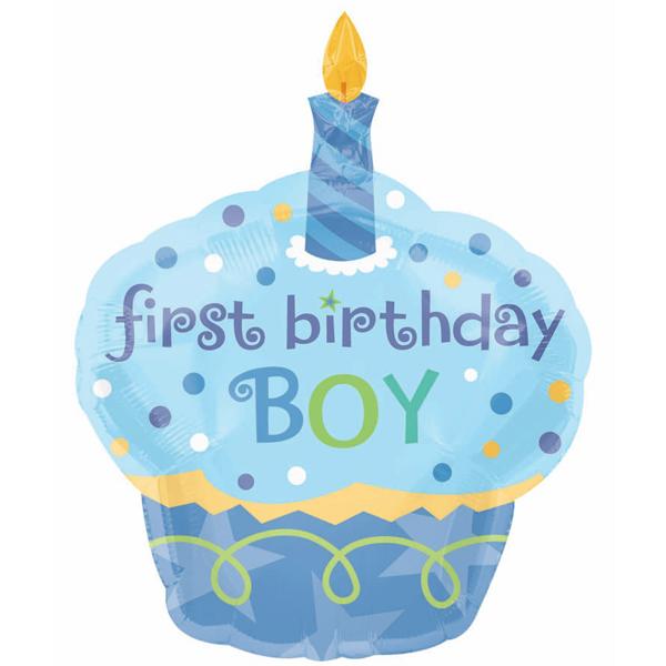 1st Birthday Cupcake Boy Super Shape Foil Balloon