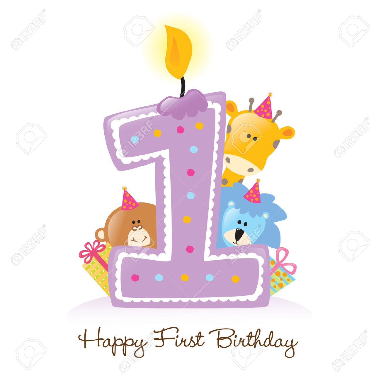 1st Birthday Free Clip Art. First Birthday Candle with .