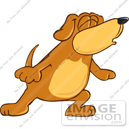 #23622 Clip Art Graphic Of A Cute Brown Hound Dog Cartoon Character Howling