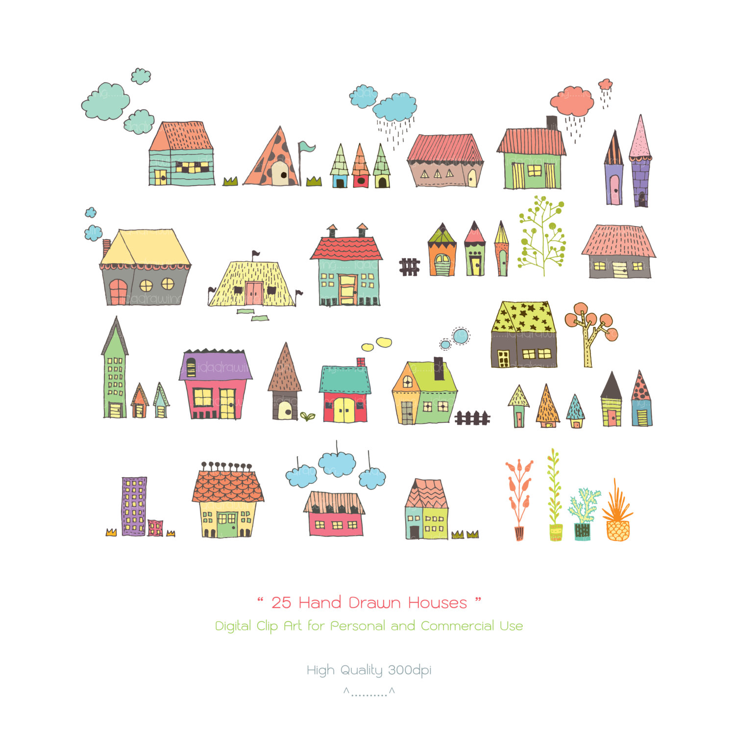 25 Hand Drawn Houses Digital Clipart - H-25 Hand Drawn Houses Digital Clipart - Houses Clipart - Hand Drawn Clipart - Cottage Clipart - Home Clipart - Scrapbooking - Housewarming-2