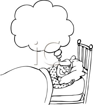 2662 Black And White Cartoon Of A Woman Dreaming Clipart Image Jpg