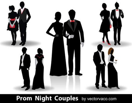 29 Senior Silhouettes; Prom Night Couple-29 Senior Silhouettes; Prom Night Couples Vector Silhouettes-0