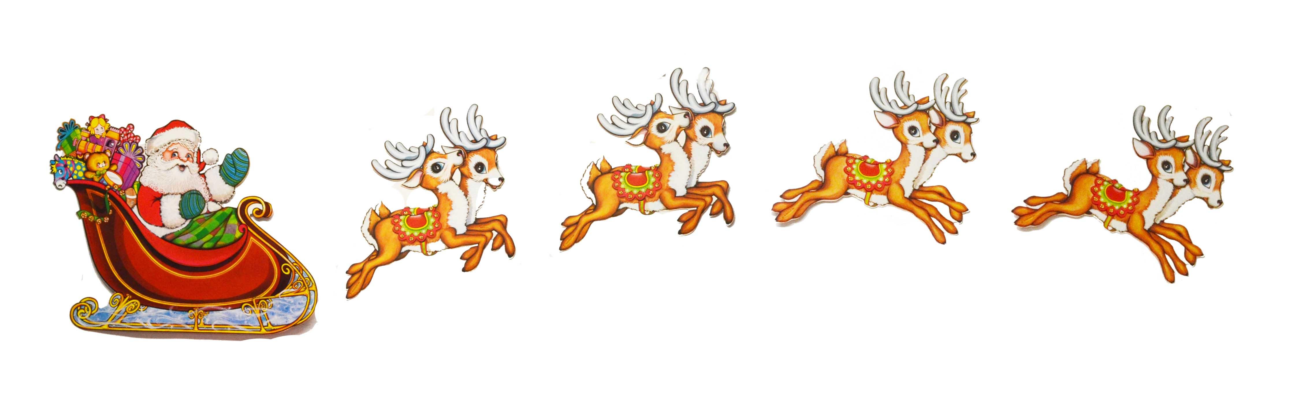 2m Santa Sleigh And Reindeer Christmas 5pk Cutout Decoration Ebay