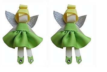 2pc Set Disney Tinkerbell Hair Bow Clips-2pc Set Disney Tinkerbell Hair Bow Clips-10