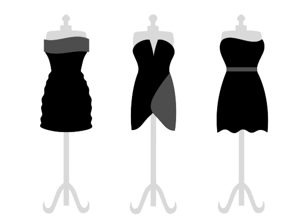 3 Little Black Dresses BW - Dresses Clipart