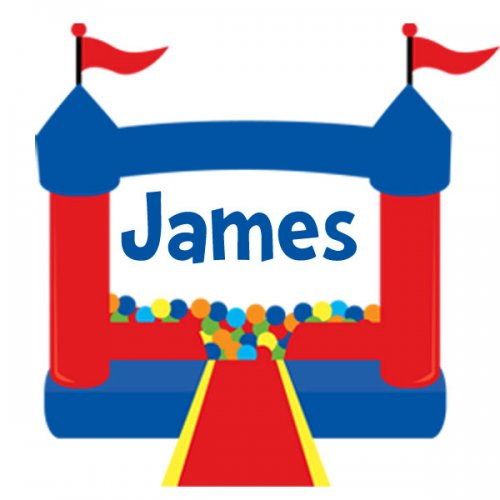 30 - Personalized Address Labels - Circus Bounce House Blue .