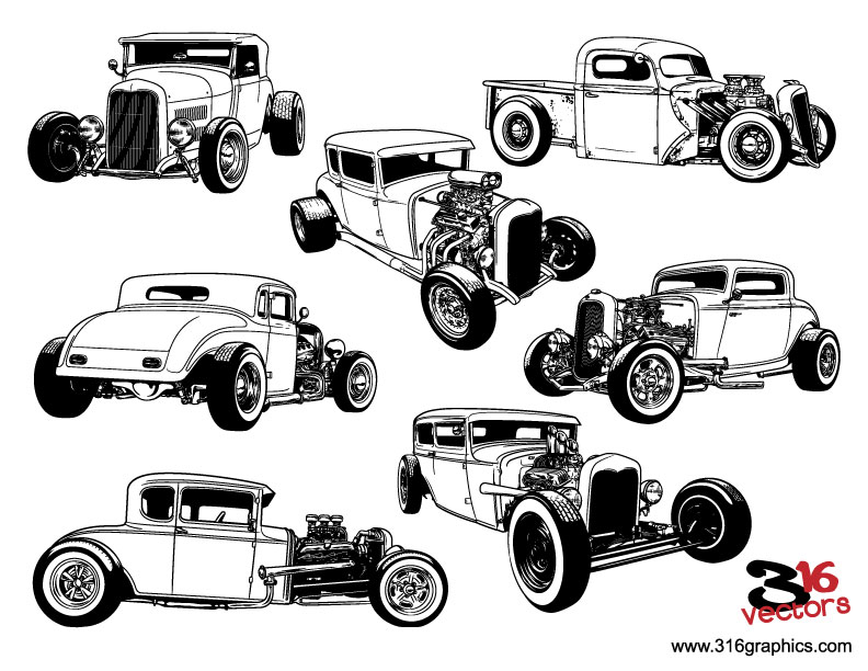 316 Vectors Hot Rods Vector Pack Sold By 316 Graphics On Storenvy