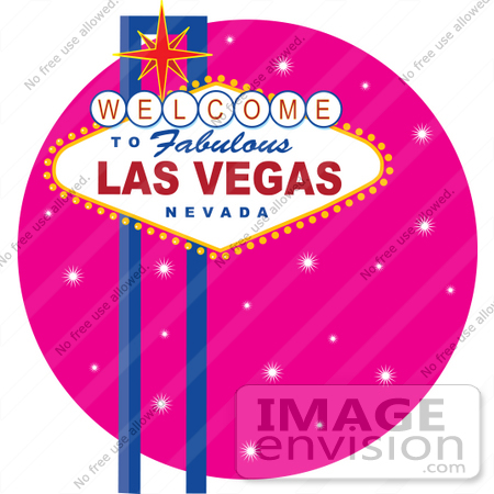 #33652 Clip Art Graphic Of A Las Vegas Sign Over A Pink Sparkly Background
