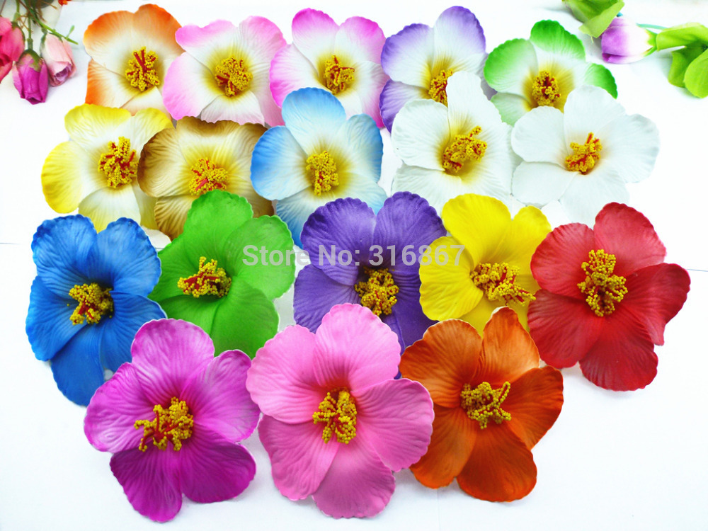 36pcs free shipping mixed colors Foam Hawaiian flower Hibiscus Flower  bridal hair clip 9cm