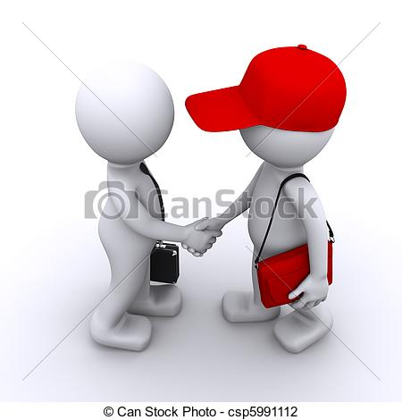... 3d businessman shaking hands with customer