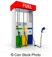 ... 3d gas station on white background