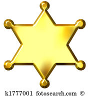 3D Golden Sheriff\u0026#39;s Badge