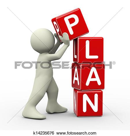 3d man placing plan cubes