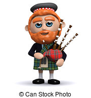 ... 3d Scotsman plays bagpipes - 3d render of a Scotsman playing.