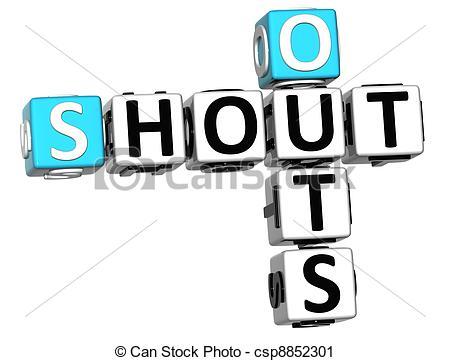 3D Shout Out Crossword cube w - Shout Out Clip Art
