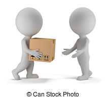 3d small people - parcel delivery - 3d small people deliver.
