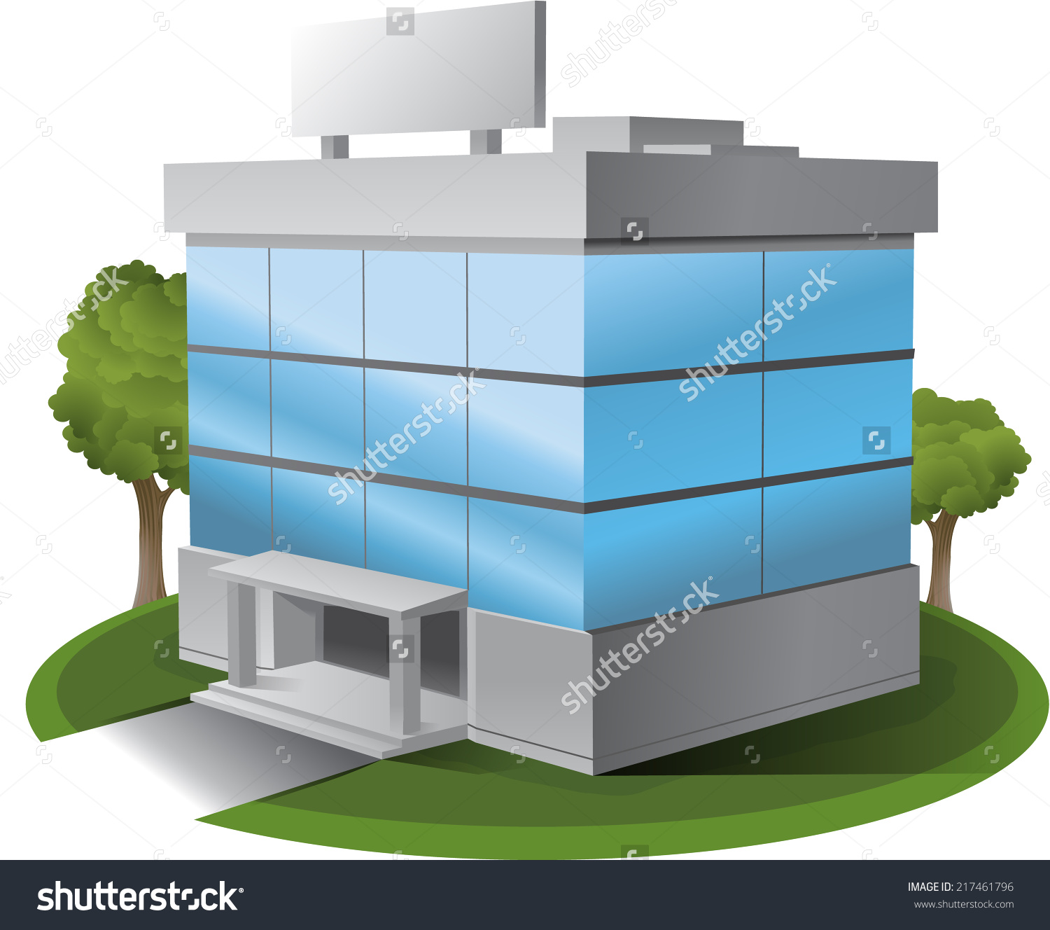 3D Vector office building illustration clipart