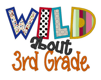 3rd Grade Clip Art. Wild about 3rd Grade Applique.