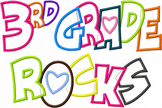 3rd Grade Rocks Applique Designs 5x7 And 8x11 Hoop Size Instant