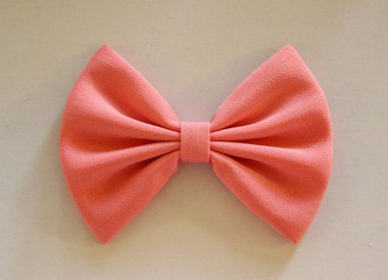 4.5u0026quot; coral fabric hair bow clip, salmon pink bow, hairbow for teens kids