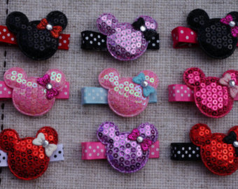 5 Minnie Mouse Birthday Favor hair clips Minnie Mouse Hair Clip - YOU CHOOSE COLOR - Hair Clips - Toddler Hair Clip - Clip