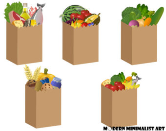 5 PNGS, Grocery Bags, Clipart, Food Clipart, Vegetable Bags, Fruit Bags, Cute Grocery Bags, Kawaii Grocery Bags, Grocery Bag Stickers, DIY