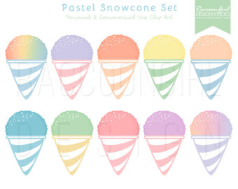 50% OFF Pastel Snowcone Clip Art Set - Personal u0026amp; Commercial Use