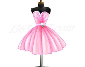 50% OFF Sale Pink Dress Clipart, Dress Form Digital Illustration, Scrapbooking, Party Invitations, Dress, Fashion, Cocktail, Download
