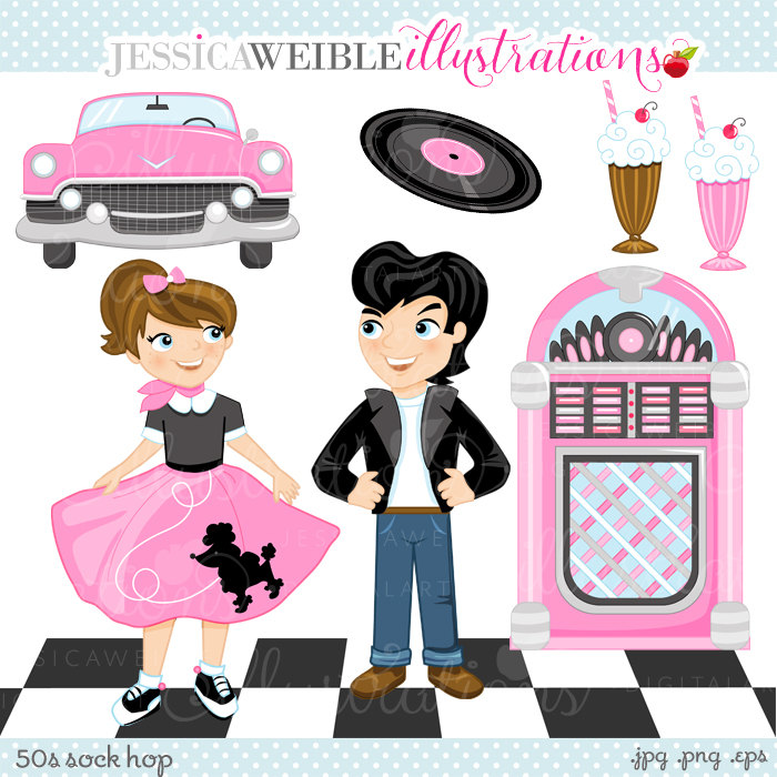 50s Sock Hop Cute Digital Clipart for Commercial or Personal Use, Retro Clipart, 50s Clipart, Poodle Skirt, Drive In Graphics