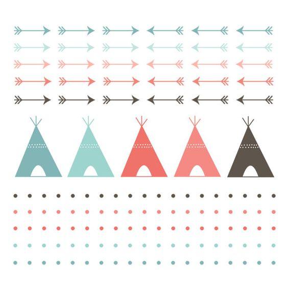 60 % Rabatt SALE Digital Clip Art Teepee Zelt digitalen Grenzen Navaho Clipart Pfeile, Polka