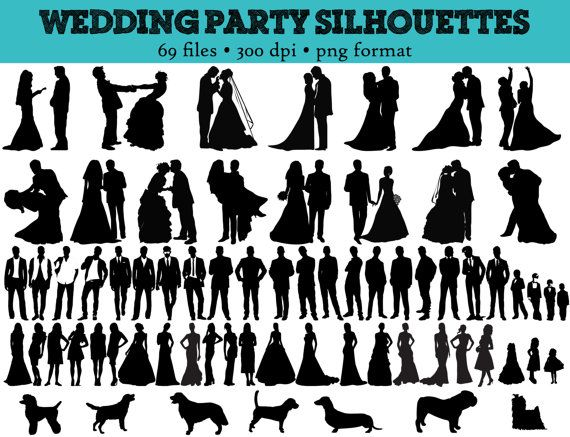 69 Wedding Party Silhouettes // Wedding,-69 Wedding Party Silhouettes // Wedding, Bride, Bridesmaid, Groomsman, Flowergirl Silhouette // Love Clipart // Bridal Silhouettes // Dogs-4