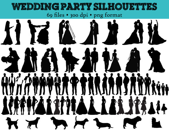 69 Wedding Party Silhouettes // Wedding, Bride, Bridesmaid, Groomsman, Flowergirl Silhouette