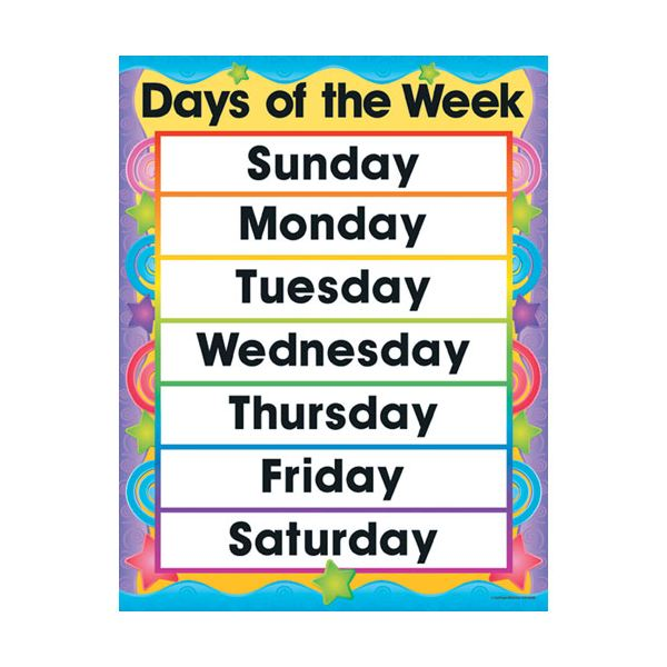 7 Days of the Week Clip Art