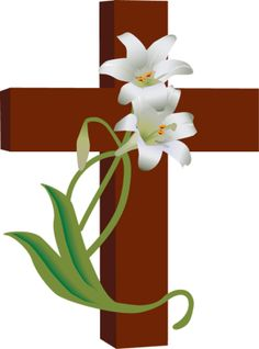 7 Free Religious Easter Clip Art Designs-7 Free Religious Easter Clip Art Designs: Cross With White Lilies-0